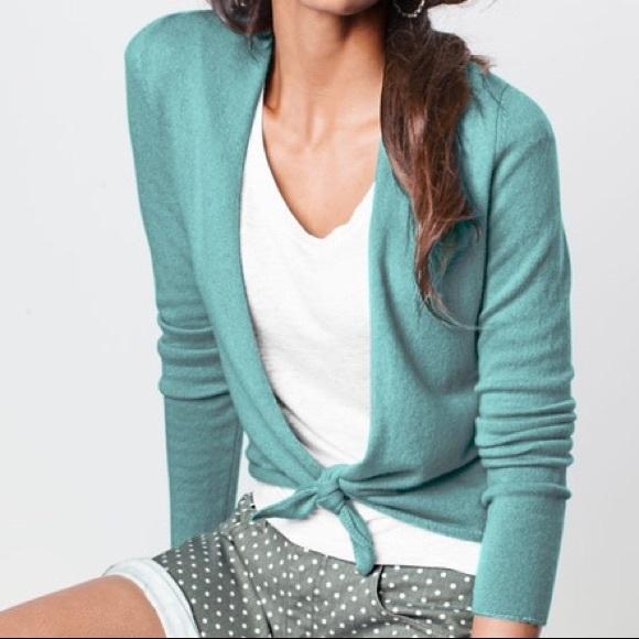 Garnet Hill tie front cashmere sweater
